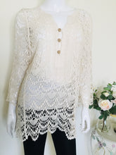 Load image into Gallery viewer, Boho style cream button front crochet top