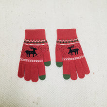 Load image into Gallery viewer, Retro style pink gloves with reindeer