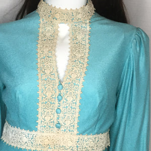1960s Turquoise Dress with Lace Trim