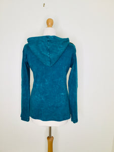 Vintage Teal Hooded Top with Floral Appliqué