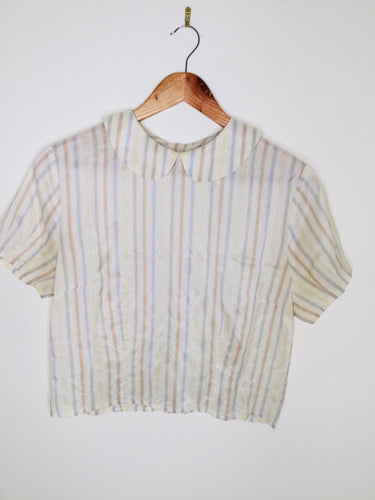Silk vintage shell top with pastel coloured stripes and Peter Pan collar