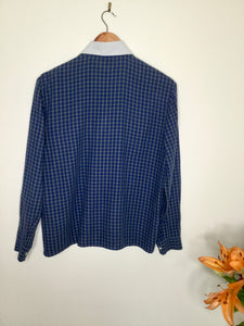 Vintage Plaid Blouse with Peter Pan Collar