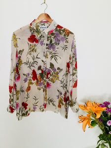 90s Vintage floral semi sheer blouse
