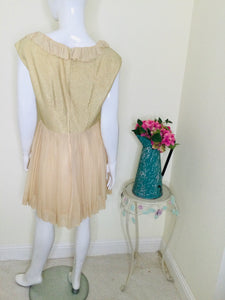 1950s Vintage Blush and Gold Cocktail Dress