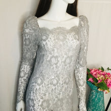 Load image into Gallery viewer, 80s Grey Lace Dropwaist Dress