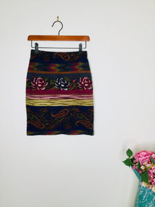 Vintage wool miniskirt with floral, paisley and stripe print
