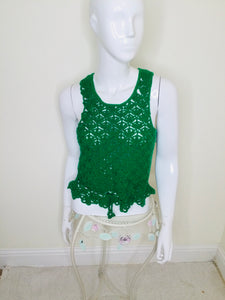 Vintage green crocheted sweater vest