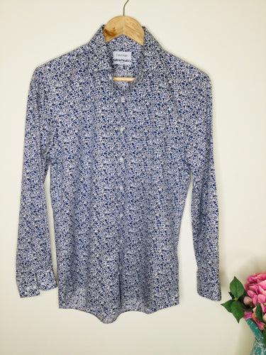 Blue floral long sleeved shirt