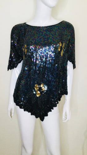 Vintage silk sequin and beaded top with hanky hem