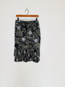 Vintage rose and paisley print skirt with tiered hem