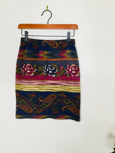 90s vintage floral and paisley print short skirt