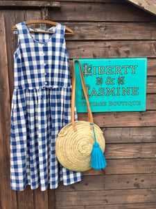 Vintage Blue and White Check Dress