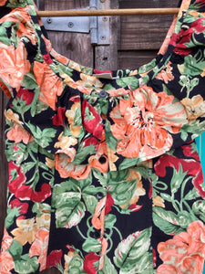 Vintage exotic floral print top with deep frill neckline