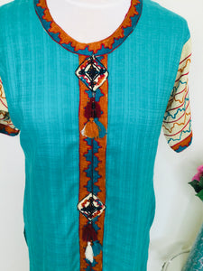 Vintage ethnic turquoise embroidered tunic