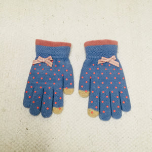 Retro style blue polka dot gloves