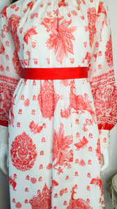 1970s China Red Bird and Butterfly Print Maxi Dress