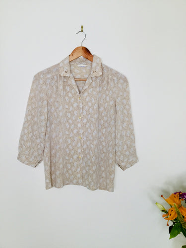 Vintage blouse with lace detail collar in neutral tones