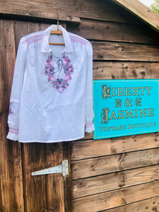 Vintage white peasant style embroidered top