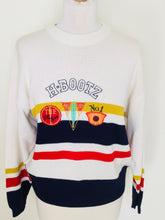 Load image into Gallery viewer, Vintage white striped sporty sweater with cricket motifs
