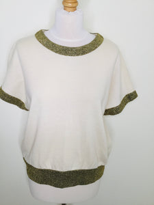 Vintage cream short sleeved top with gold trim