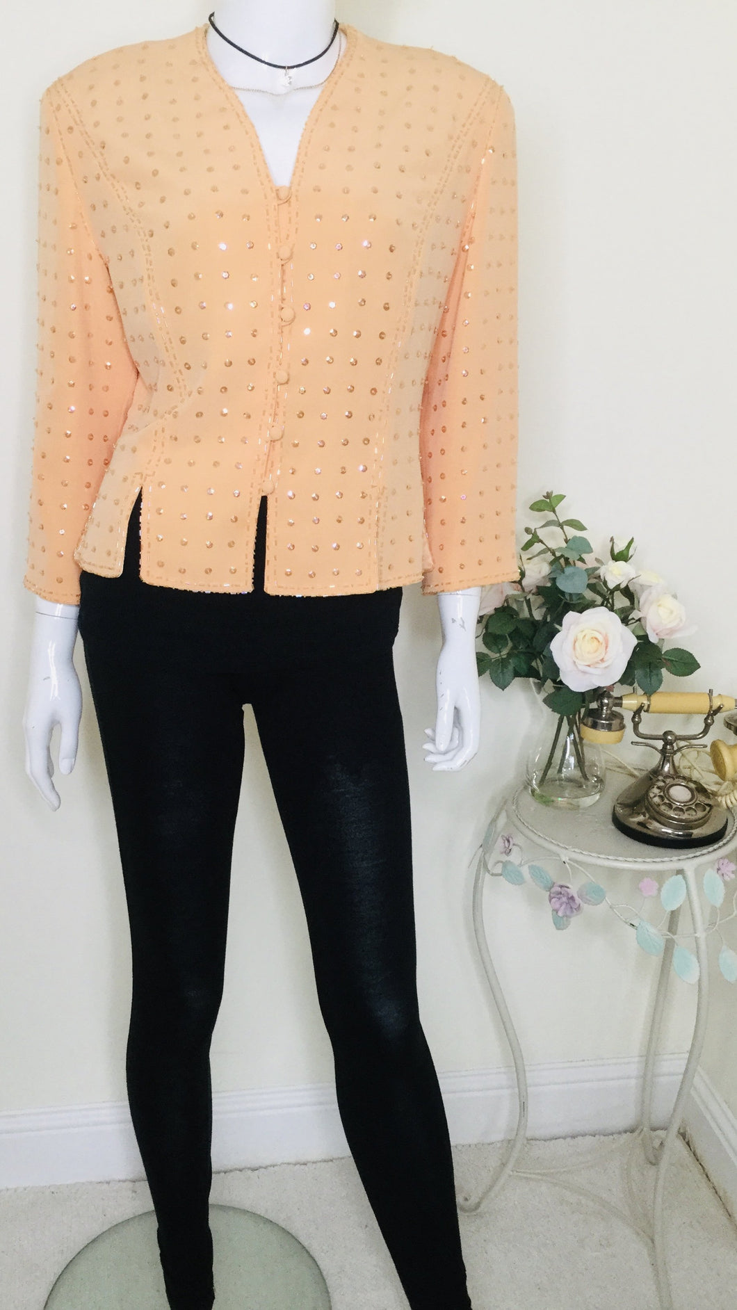 Vintage couture peach sequin and beaded jacket