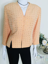 Load image into Gallery viewer, Vintage peach sequin and beaded jacket