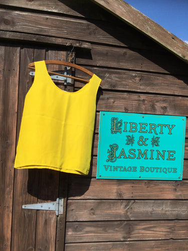 Bright yellow silk tank top