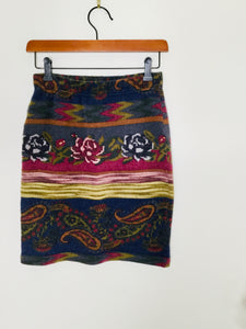 Vintage Floral and Paisley Print Skirt