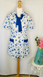 60s Blue Floral Tunic/ Dress with Necktie