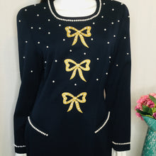 Load image into Gallery viewer, 80s Navy Wool Dress with Bows and Pearls