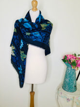 Load image into Gallery viewer, Large square navy leaf print scarf