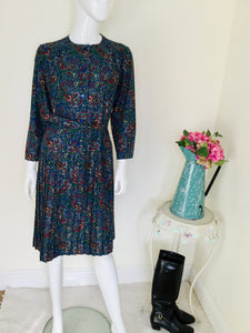 Vintage blue paisley print dress