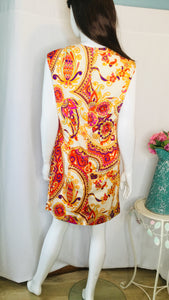 60s/70s Paisley Print Shift Dress