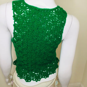 Vintage Crochet Green Sweater Vest