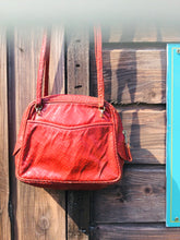 Load image into Gallery viewer, Vintage Red Snakeskin Leather Bag