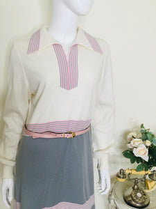 70s midi dress with dagger collar