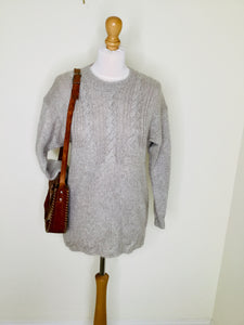 Vintage hand knitted sweater with cable stitch detail