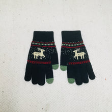 Load image into Gallery viewer, Navy retro style gloves with reindeer