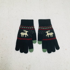 Navy retro style gloves with reindeer