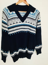 Load image into Gallery viewer, Vintage Fairisle navy v neck sweater