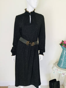 70s Betty Barclay black and gold evening dress