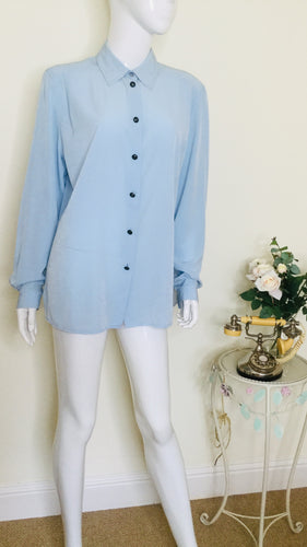vintage powder blue blouse