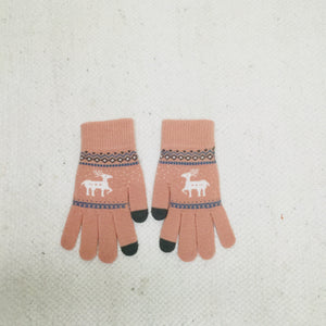 Retro style pink gloves with scandi deer