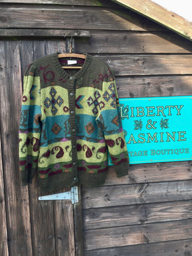 Green mix mohair cardigan with Aztec and paisley pattern
