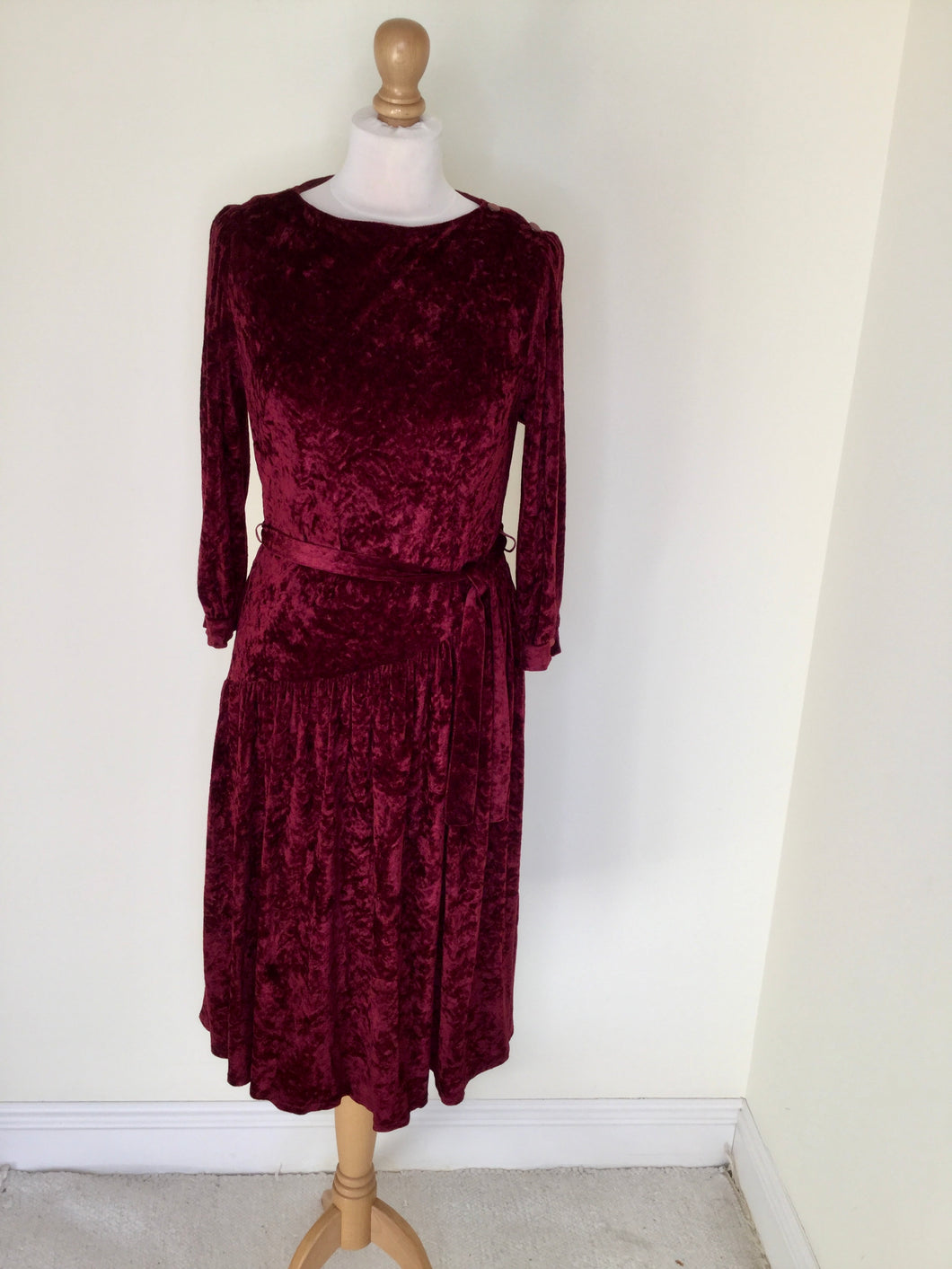 Vintage crushed velvet dress in cranberry