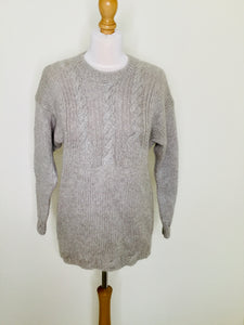 Vintage Hand Knitted Sweater with Cable Stitch