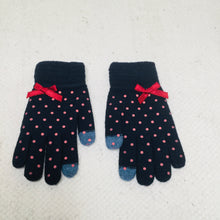 Load image into Gallery viewer, Retro style navy polka dot touchscreen gloves