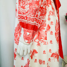 Load image into Gallery viewer, 1970s China Red Bird and Butterfly Print Maxi Dress