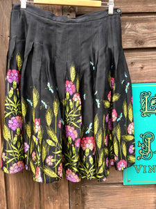 Vintage Silk Skirt with Wild Flower and Dragonfly Print