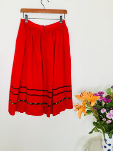 Vintage folk style skirt in red